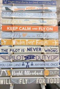 My Word! Aviation themed  - Skinny Wooden Sign
