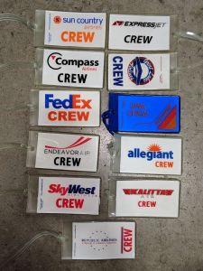 Rubber Crew Tags - Assorted airlines